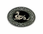 Oval Belt Buckle Medieval Dragon Inlaid in Hand Painted Black Onyx Enamel Game of Thrones Inspired Metal Buckle Custom Colors Available