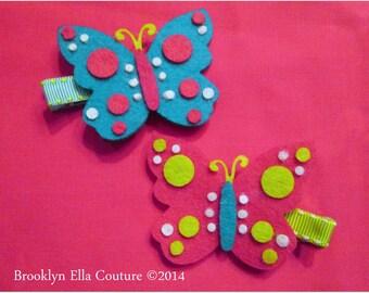 Wild Polka Dot Felt Butterfly  Clippie - You Pick Color