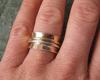 Gorgeous 14kt Rose Gold Wedding Band--with Spinner Rings of 18kt Yellow Gold and Silver