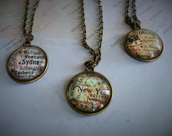 Custom MAP Necklace / Map Pendant  / You Pick The Location / Any City / Vintage map Necklace / Mao Jewelry / bridesmaid gift / gift boxed