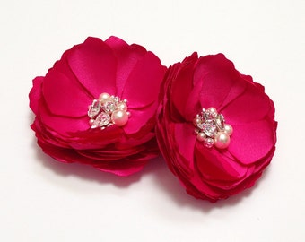 Fuchsia Satin Flowers - Crystal & Pearls Embellished Hair, Shoe Clips for a Bride, Bridesmaid, Gift, Flower Girl, Photo Prop - Kia