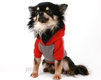 Dog clothes custom name embroidery in Fleece Raglan Hoodie in your color!