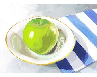 """5x7"""" kitchen art - food print - """"Green Apple"""""""