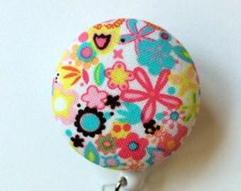 Badge Reel - Flowers Badge Holder - ID Badge Holder - Retractable Badge Holder - Nurse Gift - Teacher Gift -  Fabric Badge Reel