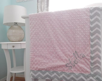Monogrammed Minky Napping Blanket - Light Grey Chevron with Light Pink Minky