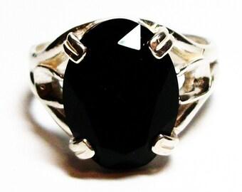 "Black onyx, black onyx ring, unisex ring, solitaire ring, black, s 10 1/4  ""Black Knight"""