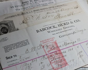 2 Antique 1800's 130 Year Old Receipts