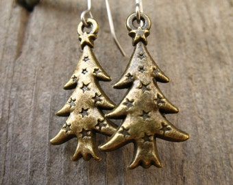Titanium Christmas Tree Earrings, Antiqued Bronze Christmas Tree Charms on Hypoallergenic Titanium Ear Wires