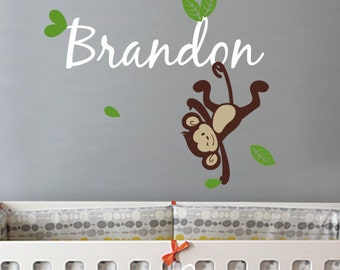 Nursery Wall Decals. Boy Monkey Custom Name Decal - Kids Wall Sticker Baby Name Decal