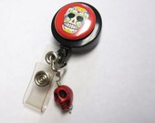 Sugar Skull Retractable ID Badge Reel Day of the Dead Name Tag Holder