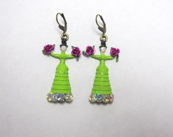 Frida Kahlo Earrings Lime Green Dress Day of the Dead Jewelry Fuschia Pink Roses