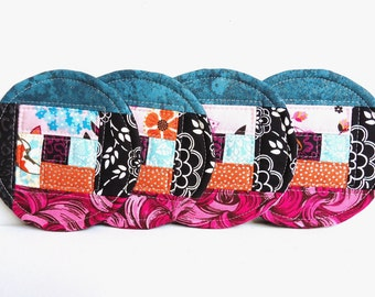 Quilted Coasters, Fabric Mug Rugs, Set of 4, Colorful Coasters