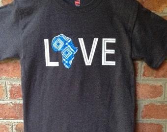 LOVE Africa T-shirt: XL Cerulean Blue
