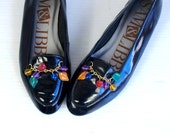 vtg 90s black COLORFUL CHARMS patent leather FLATS 6 preppy Sam+Libby oxfords loafers shoes