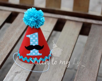 First Birthday Hat Mustache Red Aqua Dots Turquoise Black 1st Birthday Outfit Little Man