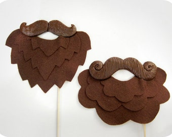 2 Brown Plastic Mustaches and felt beards on Sticks -  Valentine day, Wedding, Party Photobooth Props