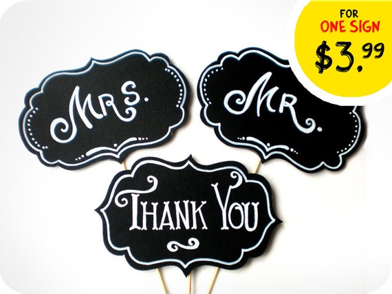Photobooth Props - Wedding Signs with TEXT - The Mr & The Mrs Signs, Thank You Sing on sticks - Set of 3