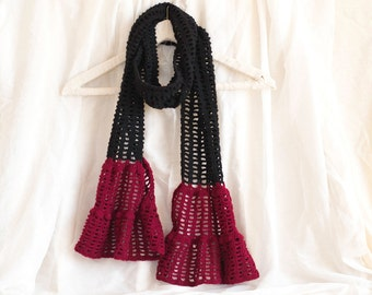 Bohemian Crochet Scarf, Pure Wool Boho Scarf in Red and Black, Romantic Accessories, Natural Materials
