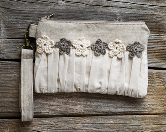 Eco friendly Ruched Clutch with Crochet Flowers in Natural White Cotton and Natural Grey Linen, French Country