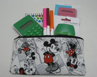 Mickey Mouse And Minnie Zipper Pencil Case
