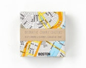 Map of Boston Coasters Ceramic Tile Orange Blue Grey Map Coasters Blue and Yellow Drink Coasters Gift for Him
