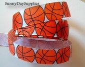 """Basketball Ribbon,Grosgrain Sports Ribbon, School, Crafts and Sports, Made in USA, """" 3 YARDS"""",  7/8 inches wide, Basketball Grosgrain Ribbon"""