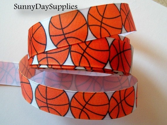 "Basketball Ribbon,Grosgrain Sports Ribbon, School, Crafts and Sports, Made in USA, "" 3 YARDS"",  7/8 inches wide, Basketball Grosgrain Ribbon"