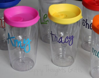 Personalized Acrylic Wine Glass - Vino2Go tumbler - Monogrammed wine glass - Monogrammed Gift  - Travel Wine Tumbler