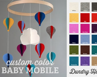 100% Merino Wool Felt Baby Mobile - Eco-Friendly - Rich, Lightfast Colors - Heirloom Quality - Choose your own felt hot air balloon colors!