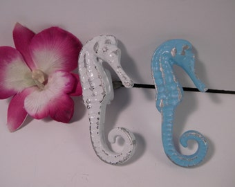 Drawer Pull / Cabinet Knob / Seahorse Knob Pull Handle, Pull Knob,Metal , Beach House Cottage Decor /  Aqua Turquoise or White / Unique