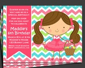 Easter Birthday Invitation Printable or Printed with FREE SHIPPING - You Pick Hair Color & Skin Tone - Easter Egg Hunt, Easter Birthday Fun