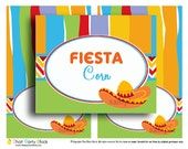 Mexican Fiesta Party Tent Style Buffet Labels Printable - Instant Download - Sombrero Collection