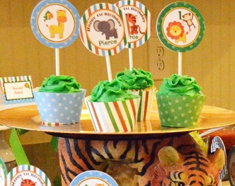 Animal Cupcake Toppers Printable Small Party Circles - Safari, Jungle, Zoo Animals - Birthday, Baby Shower, Zoo Party - Safari Collection