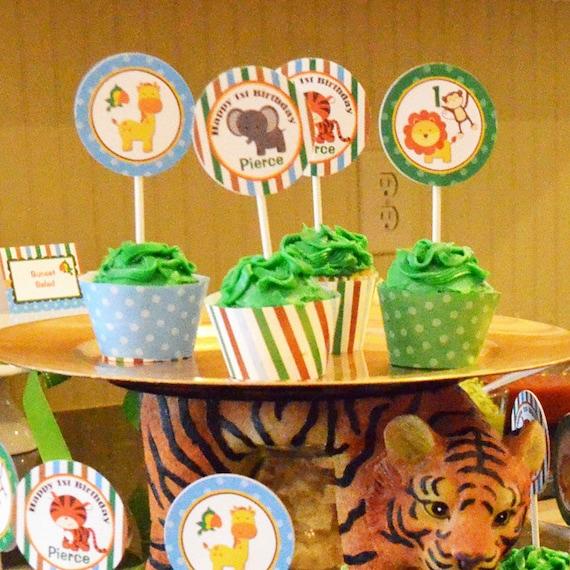 Animal Cupcake Toppers Printable Small Party Circles Safari