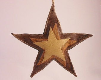 Western Christmas Ornaments- rustic leather star xmas tree decorations, western ranch home decor
