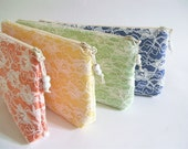 Orange Clutch, Yellow Clutch, Green Clutch, Blue Clutch, Wedding Clutches, Set of 4 Bags, Lace Bridal Bags, Bridesmaids Bags