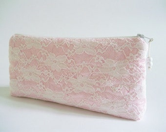 Light Pink Lace Clutch, Wedding Clutch, Floral Lace Handbag, Pink Bridal Purse, Bridesmaid Gift Clutch