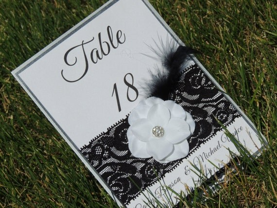 Black and Silver Lace Flower Feather Table Number