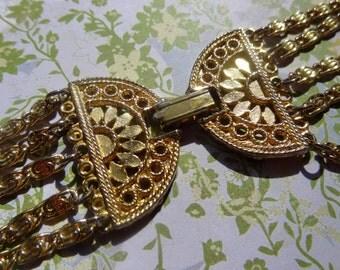 Grecian Goddess Multi-Strand Vintage Gold Toned Vintage Necklace