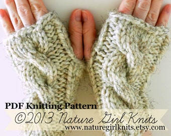 PDF KNITTING PATTERN Chunky Fingerless Mittens, Instant Download