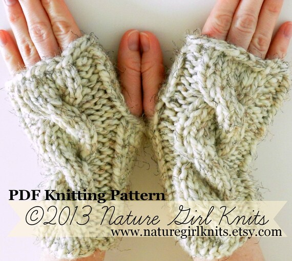 Items similar to PDF KNITTING PATTERN Chunky Fingerless Mittens, Instant Down...