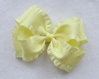Double Ruffle Boutique Hair Bow~Light Yellow Hair Bow~Large Boutique Bow~Easter/Spring Boutique Bow~Boutique Hair Bows~Double Ruffle Bows