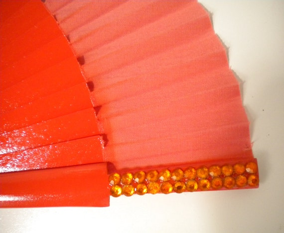 MADE To ORDER Total Bling Hand Fan Orange Glittery PARTY
