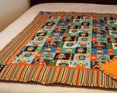 Robot quilt robots print toddler bedding robot nursery bedding toddler quilt baby quilt boy nursery