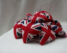 10 Union Jack Hearts - handmade padded hanging heart decorations LIMITED EDITION