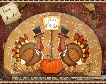 E PATTERN - Give Thanks - Thankful Turkeys, Fall scene - Painted & Designed by Sharon Bond - FAAP