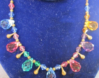 1940s Multi Colored Glass Necklace / Faceted  Drop Necklace / Pink Gold Lavender Blue