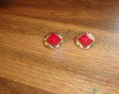 vintage clip on earrings goldtone red lucite