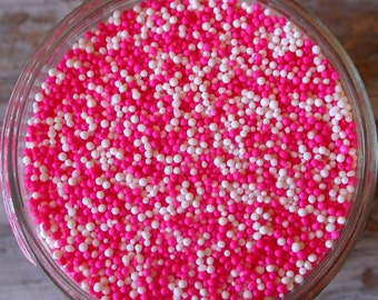Sprinkles, 3 oz. - Pink and White Non Pareils Mix - For Cupcakes - Cake Pops - Cookies - Ice Cream - Dipped Pretzels - Cakes - Desserts