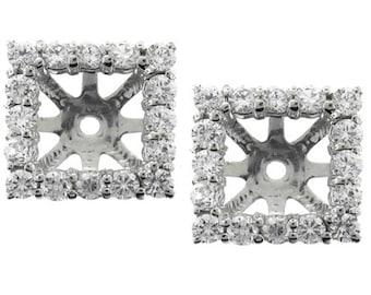 1.25CT Princess Cut Diamond Halo Earring Jackets Studs White Gold Fits 5.5-6MM